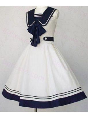 Supply navy style navy collar sailor suit sleeveless School Lolita Dress