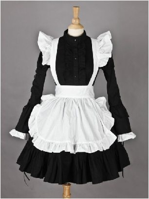 Supply British Style Long Sleeves Lovely Cotton Maid outfit Cosplay Costume