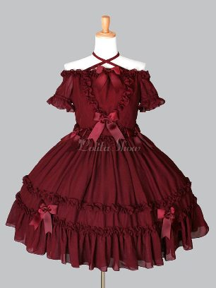 Burgundy One-shoulder Lace-up Bowknot Bowknot Sweet Lolita Dress