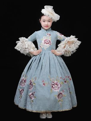 Lake Blue children court clothes blooming embroidery Prom Dress