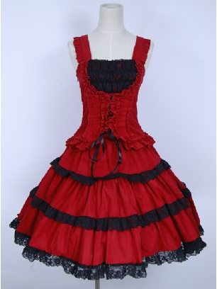 Red Corduroy fit retro lace puffy Gothic Lolita Sling Dress