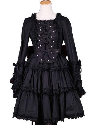 Retro Front Four Bowknot Button Black Gothic Lace Long Sleeve Lolita Dress