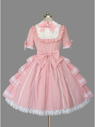 Lolita pink doll collar bowknot lace trim short-sleeved dress princess dress