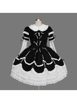 Gothic lace-sleeved one-piece princess Sweet Lolita Dresses