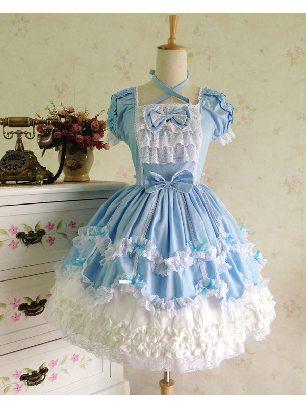 Lolita dress retro lace palace puffy short-sleeved Sweet Lolita Dress