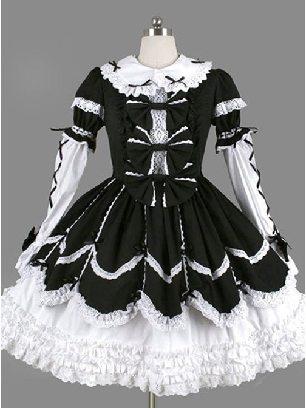 black bow lace long-sleeved Ruffles gothic Lolita maid Long Sleeves Dress