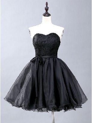 Black Lace Strapless tube short lace tutu evening dress