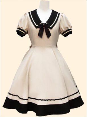 Supply Navy style princess dress retro Japanese Short Sleeve School Lolita Dress