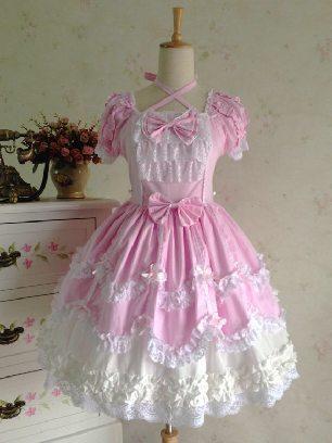 Pink Lolita dress retro lace palace puffy short-sleeved Sweet Lolita Dress