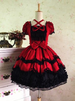 Burgundy black lace Lolita dress retro lace palace puffy short-sleeved Sweet Lolita Dress