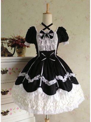 Black white lace Lolita dress retro lace palace puffy short-sleeved Sweet Lolita Dress