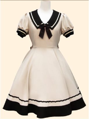 Milky Navy style princess dress retro Japanese Short Sleeve School Lolita Dress