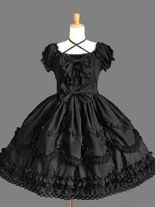 All Black Lolita dress retro lace palace puffy short-sleeved Sweet Lolita Dress