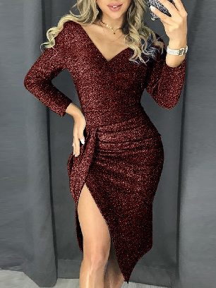 Supply Red Slim Glitter Ruched Thigh Slit Prom Metallic Dress