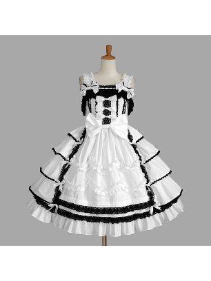 Gothic suspenders ruffled one-piece princess court Sweet Lolita Dresses