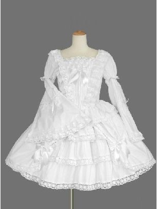 Victorian gothic waist one-piece White Long Sleeves palace Lolita Dress