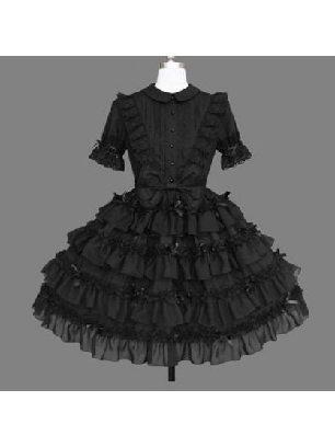 Black Gothic Lapel Short Sleeve Lace One-piece Palace Gothic Lolita Dress