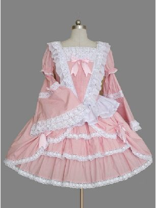 Pink Palace Dress Long Sleeve Lace Ruffles Lolita Dress