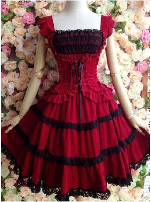 Dark Red Princess Dress Slim Fit Retro Lace Sling Puff Dress
