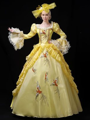Yellow royal court embroidered Trumpet Sleeve Prom Long Dress