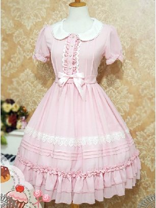 Supply Profiteroles Series Doll Collar Chest Button Lace Folds Short Sleeve Sweet Lolita Dress