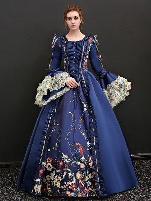 Royal blue Vintage princess dress embroidered ButtonTrumpet Sleeves palace Prom Dress
