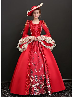 Red Vintage princess dress embroidered ButtonTrumpet Sleeves palace Prom Dress