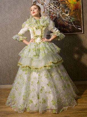 Green court court costumes medieval dress print Queen Ruffles Lace hem Lolita Prom Dress