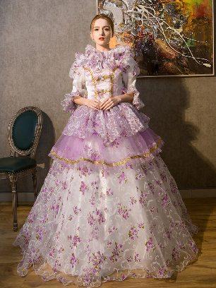 Purple court court costumes medieval dress print Queen Ruffles Lace hem Lolita Prom Dress