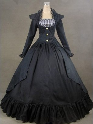 Pure black Lolita Palace Style Gothic floor-to-ceiling Lolita Prom Dress