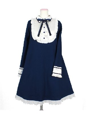 Supply Tibetan Blue Doll Collar Retro Bow Lotus Leaf High-waisted School Lolita Dress