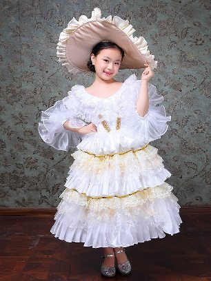 Children retro dress princess Lace hem palace Prom Dress