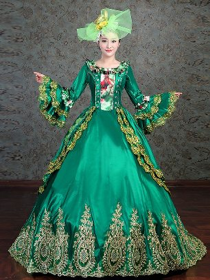 Green embroidered court party costume Lace hem princess Prom Long Dress