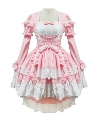 Lolita Gothic Draw Back One-piece Slim Fit Princess Dress Maid Costume