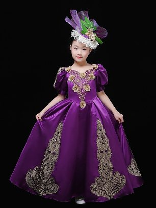 Purple romantic psalms children girls court retro birthday party short sleeves embroidered palace Prom Dress
