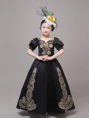 Black romantic psalms children girls court retro birthday party short sleeves embroidered palace Prom Dress