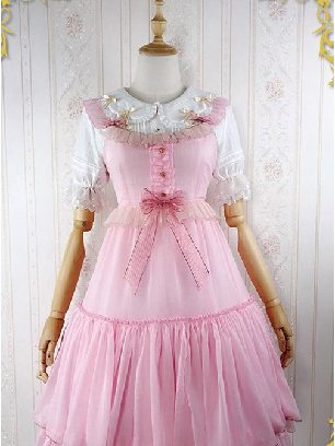 Iridescent Sugar's Dream Women Ruffles Lace lapel Collar Sweet Lolita Dress