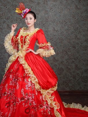 Red palace retro party dress Trumpet Sleeve Lace hem trailing Prom Long Dress