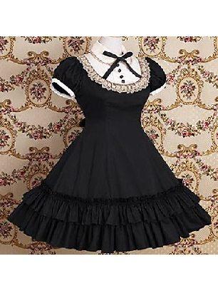 Supply retro doll collar lace bow puff sleeve short sleeve School Lolita Dress