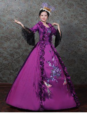 women court dress princess dress embroidered Trumpet Sleeve Prom Long Dress