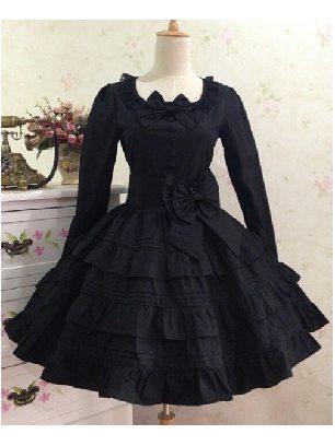 Bow Waist Tie Black Cotton Long Sleeves Lolita Dress