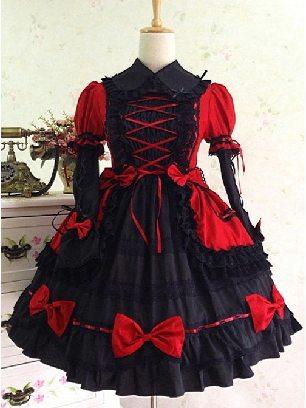 Bowknot Slim gothic Lolita princess tutu skirt Short Sleeve Dress