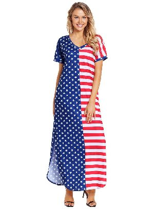 Supply The Stars and Stripes V-Neck Pocket Maxi Dress