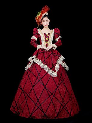 Burgundy Elegant palace dress dance party embroidered Prom Long Dress