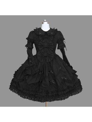 Gothic Lapel Sleeve Lace Short Skirt Princess Lolita Dresses