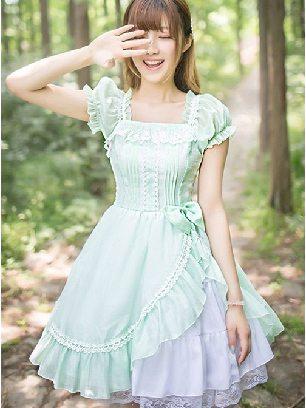 Lolita OP Short Sleeve fresh Bowknot chiffon Lolita Dress