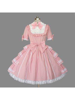 Lolita Gothic short-sleeved lotus leaf one-piece Sweet Lolita Dress