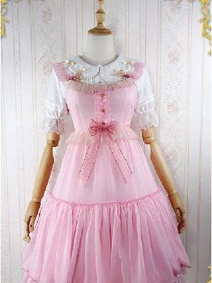 Pink Iridescent Sugar's Dream Women Ruffles Lace lapel Collar Sweet Lolita Dress