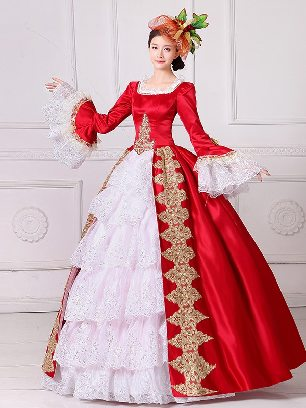 Red New Style European style palace princess dress