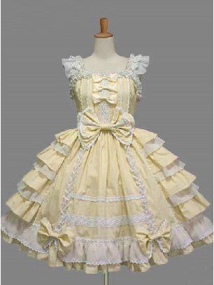 Yellow Palace Style Chiffon White lace Dress Bowknot Sweet Lolita Sling Dress